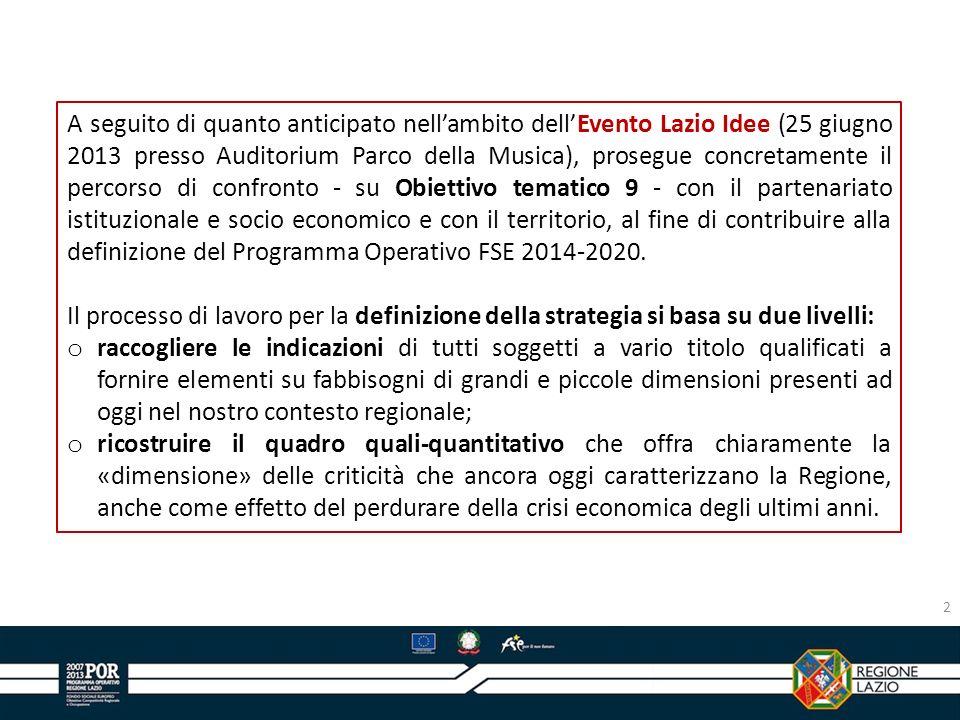 A seguito di quanto anticipato nell'ambito dell'Evento Lazio Idee (25 giugno 2013 presso Auditorium Parco della Musica), prosegue concretamente il percorso di confronto - su Obiettivo tematico 9 - con il partenariato istituzionale e socio economico e con il territorio, al fine di contribuire alla definizione del Programma Operativo FSE 2014-2020.