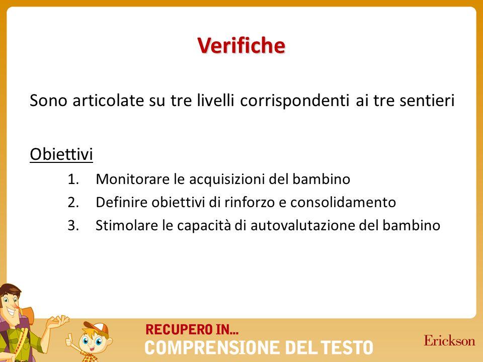Verifiche Sono articolate su tre livelli corrispondenti ai tre sentieri. Obiettivi. Monitorare le acquisizioni del bambino.