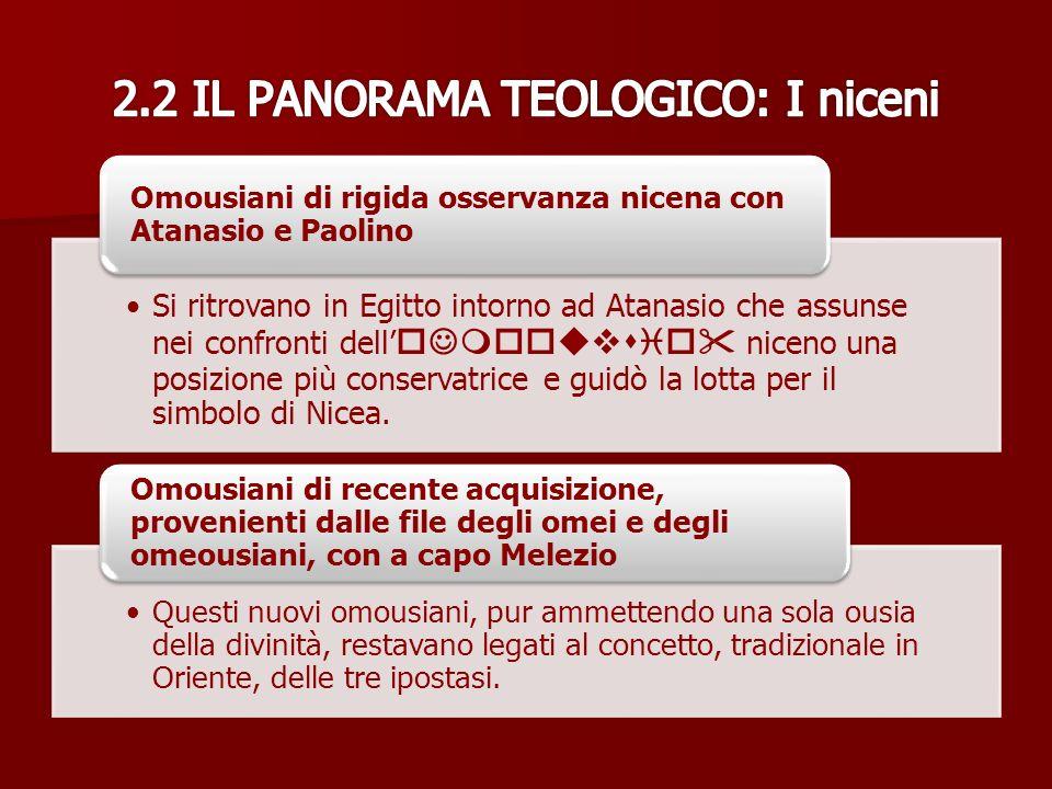 2.2 IL PANORAMA TEOLOGICO: I niceni