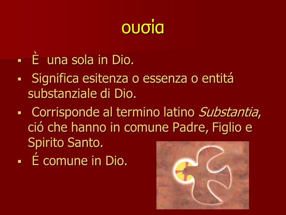 ουσία È una sola in Dio. Significa esitenza o essenza o entitá substanziale di Dio.