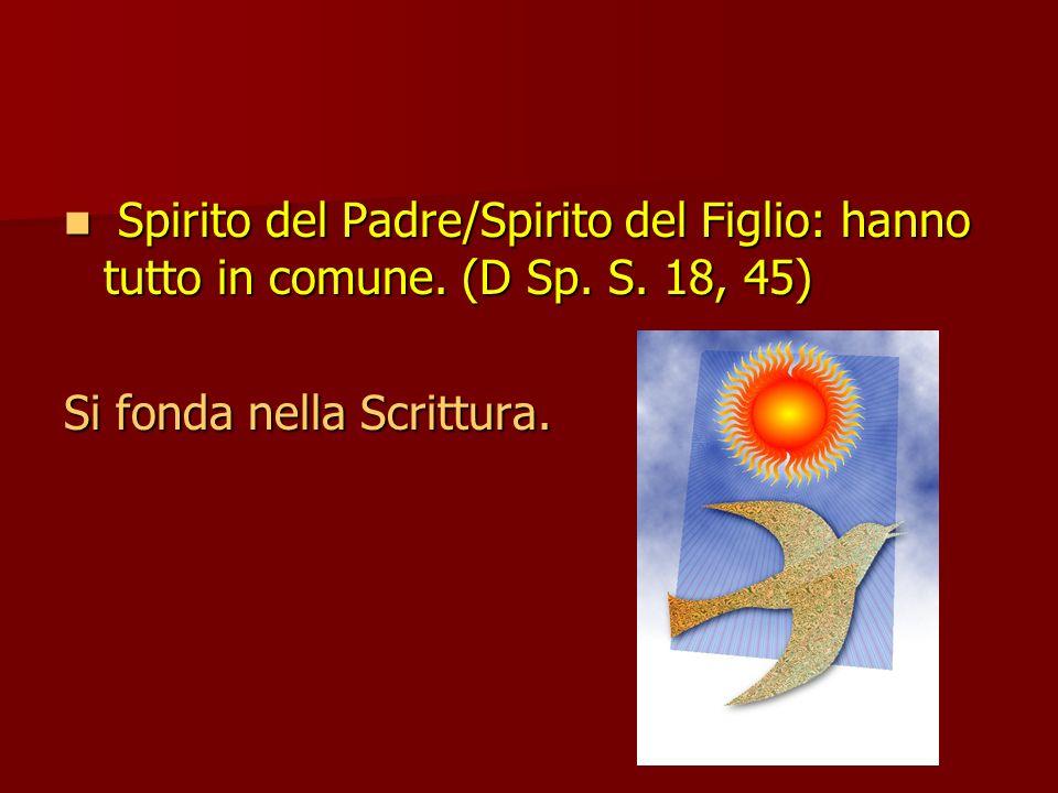 Spirito del Padre/Spirito del Figlio: hanno tutto in comune. (D Sp. S