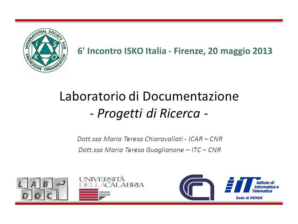 Laboratorio di Documentazione - Progetti di Ricerca -