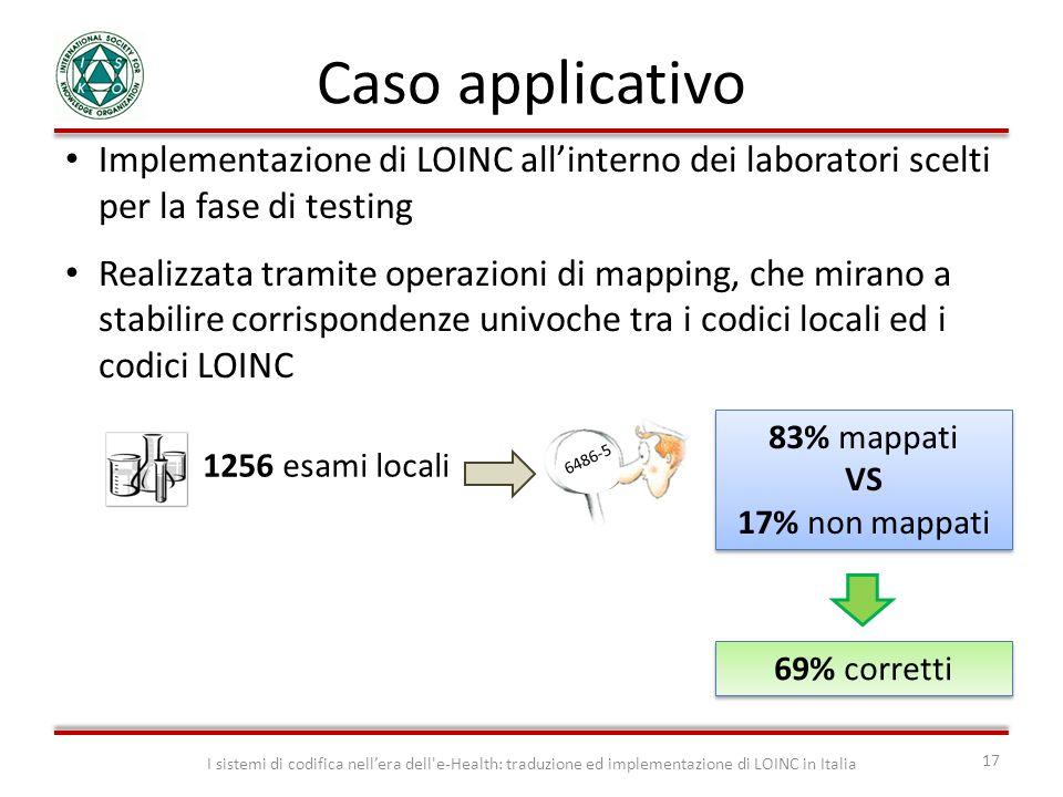 Caso applicativo Implementazione di LOINC all'interno dei laboratori scelti per la fase di testing.