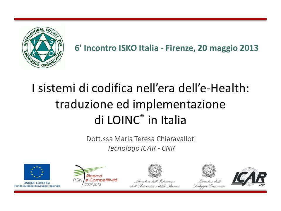 Dott.ssa Maria Teresa Chiaravalloti Tecnologo ICAR - CNR