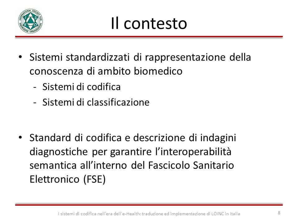 Il contesto Sistemi standardizzati di rappresentazione della conoscenza di ambito biomedico. Sistemi di codifica.