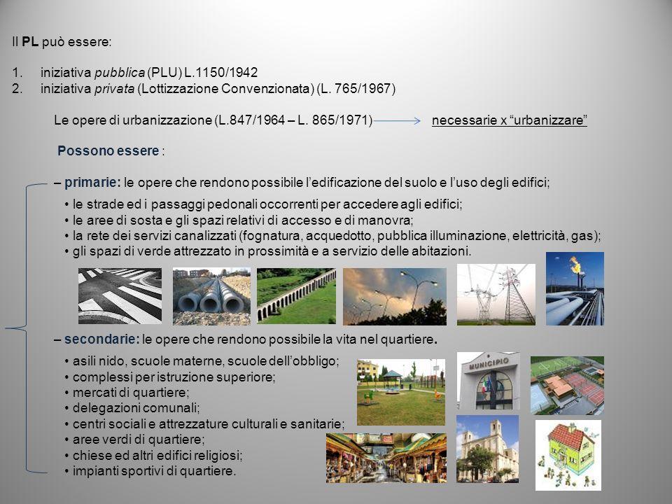 Il PL può essere: iniziativa pubblica (PLU) L.1150/1942. iniziativa privata (Lottizzazione Convenzionata) (L. 765/1967)