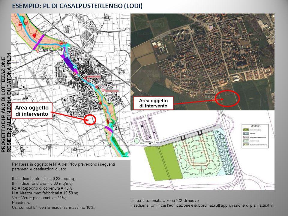 ESEMPIO: PL DI CASALPUSTERLENGO (LODI)