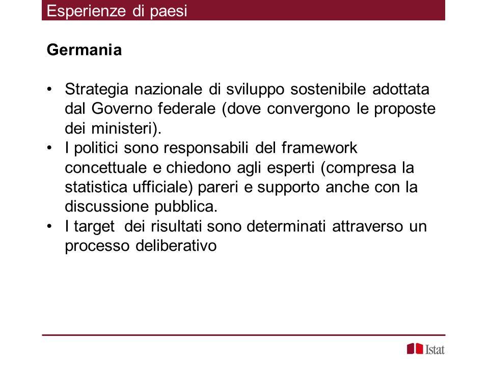 Esperienze di paesi Germania. Strategia nazionale di sviluppo sostenibile adottata dal Governo federale (dove convergono le proposte dei ministeri).