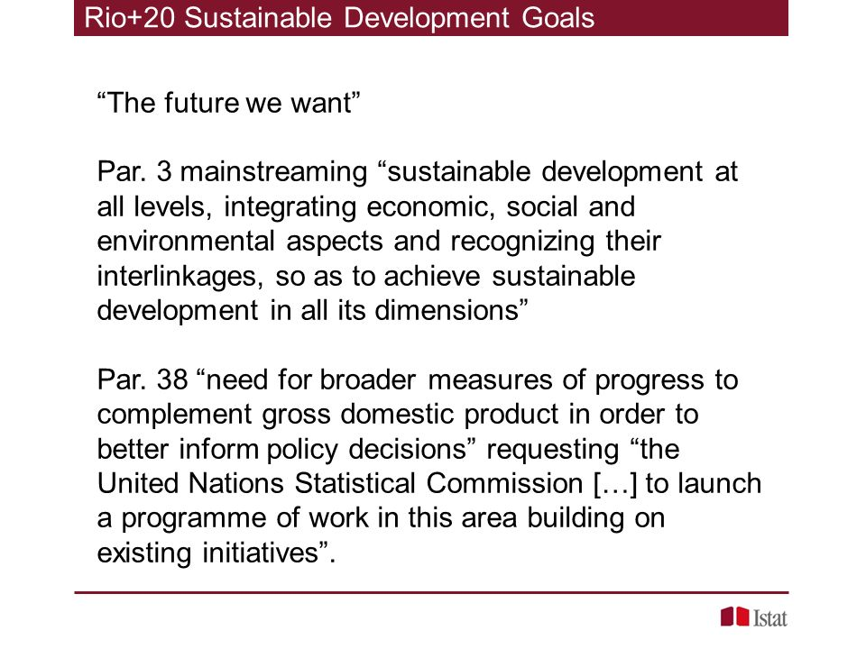 Rio+20 Sustainable Development Goals