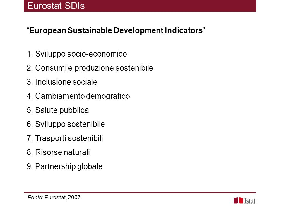 Eurostat SDIs European Sustainable Development Indicators