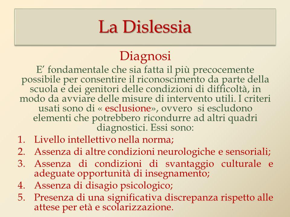 La Dislessia Diagnosi.