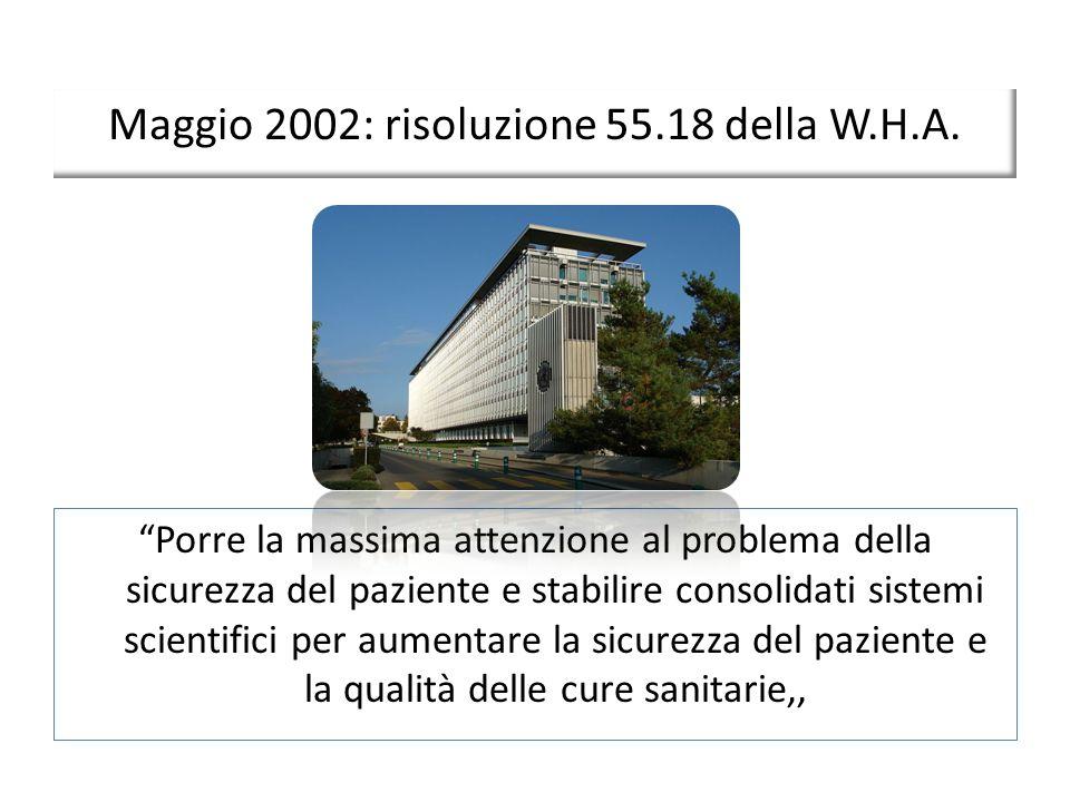 Maggio 2002: risoluzione 55.18 della W.H.A.