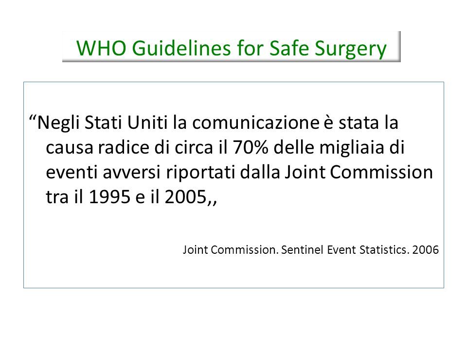 WHO Guidelines for Safe Surgery