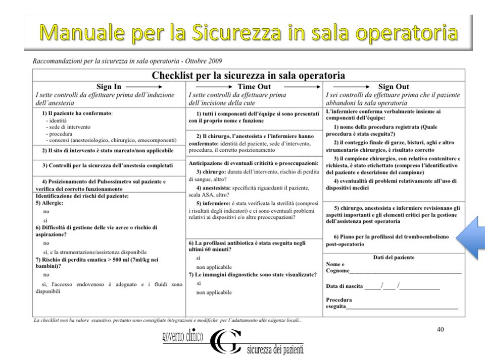 Manuale per la Sicurezza in sala operatoria