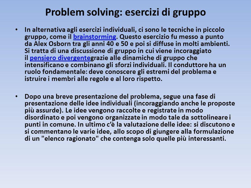 Problem solving: esercizi di gruppo