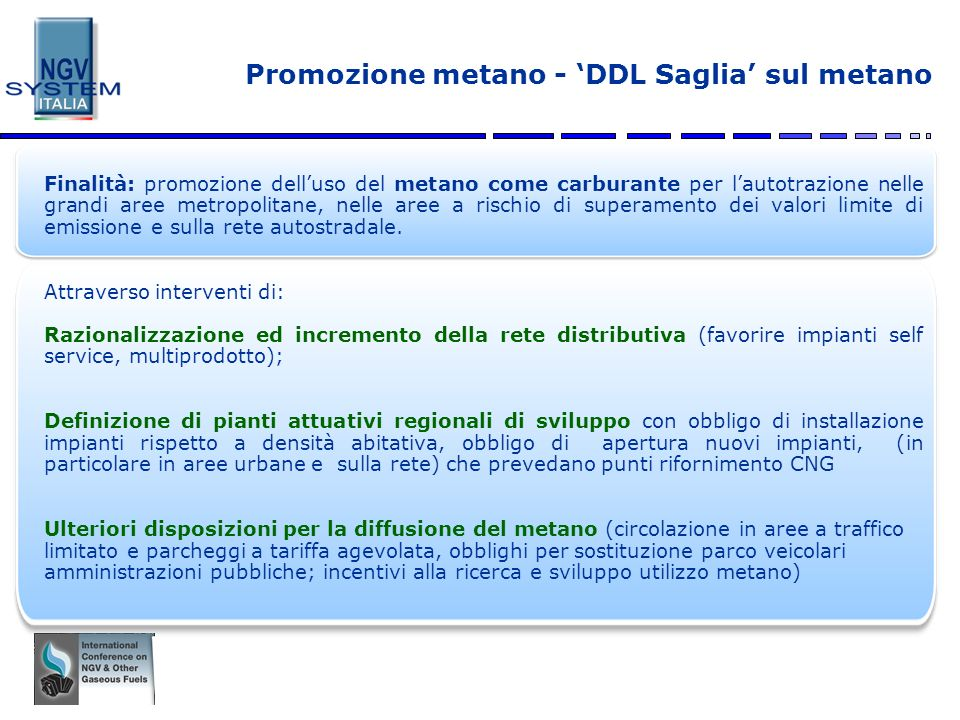 Promozione metano - 'DDL Saglia' sul metano