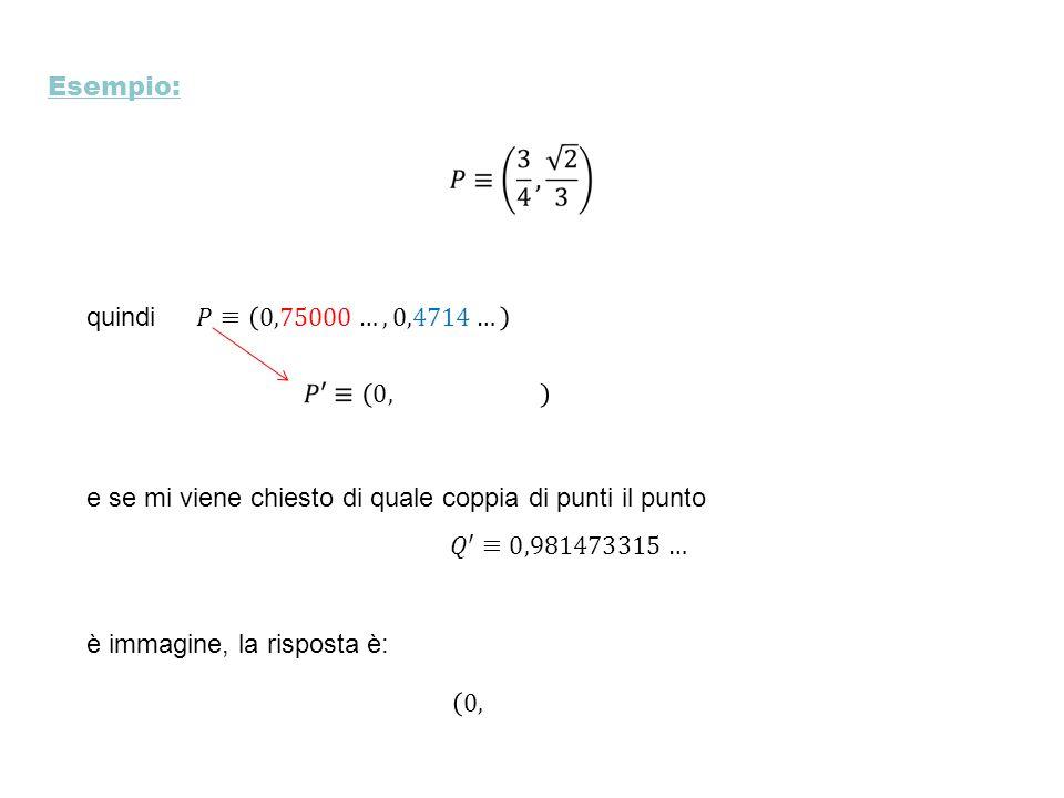 Esempio: quindi. 𝑃≡ 0,75000…, 0,4714… 0,74570104… e se mi viene chiesto di quale coppia di punti il punto.