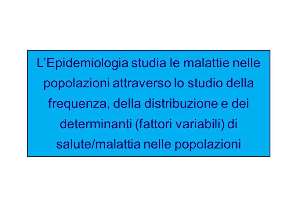 L'Epidemiologia studia le malattie nelle popolazioni attraverso lo studio della frequenza, della distribuzione e dei determinanti (fattori variabili) di salute/malattia nelle popolazioni