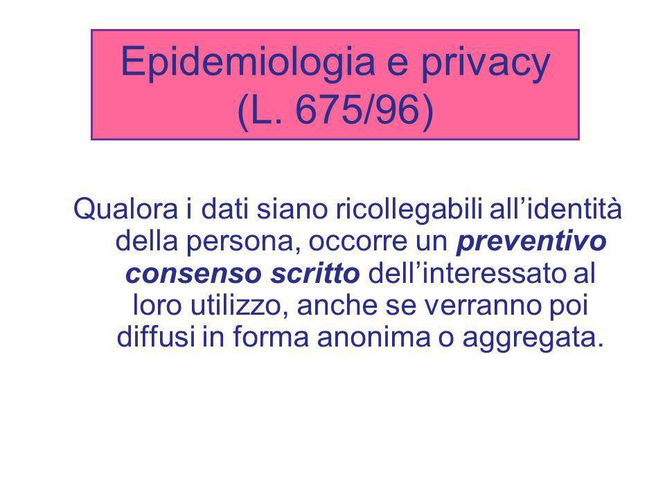 Epidemiologia e privacy (L. 675/96)