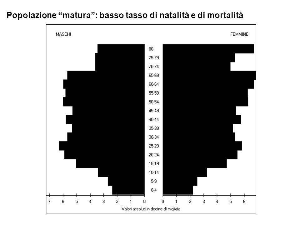 Popolazione matura : basso tasso di natalità e di mortalità