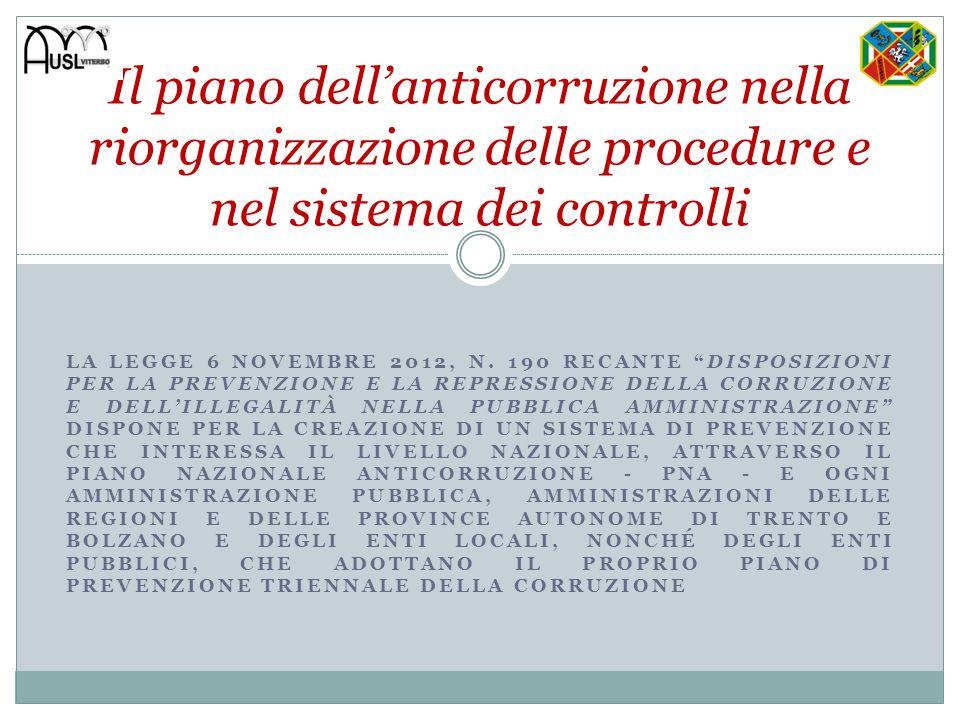 Il piano dell'anticorruzione nella riorganizzazione delle procedure e nel sistema dei controlli