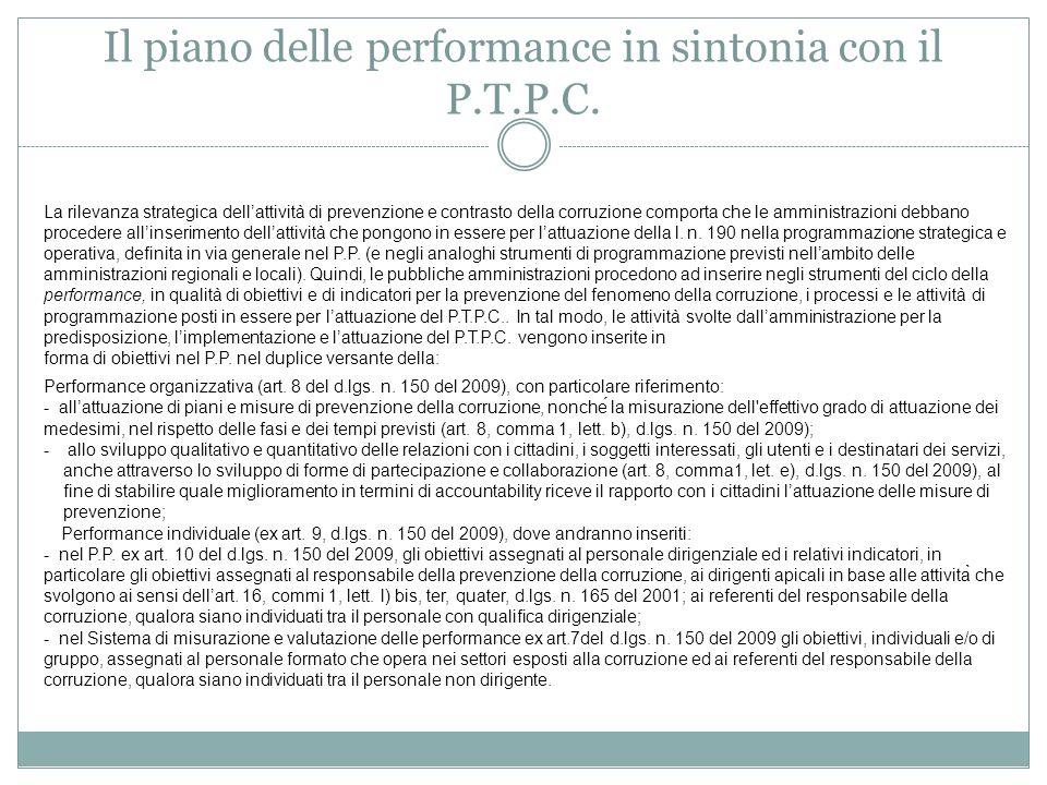 Il piano delle performance in sintonia con il P.T.P.C.
