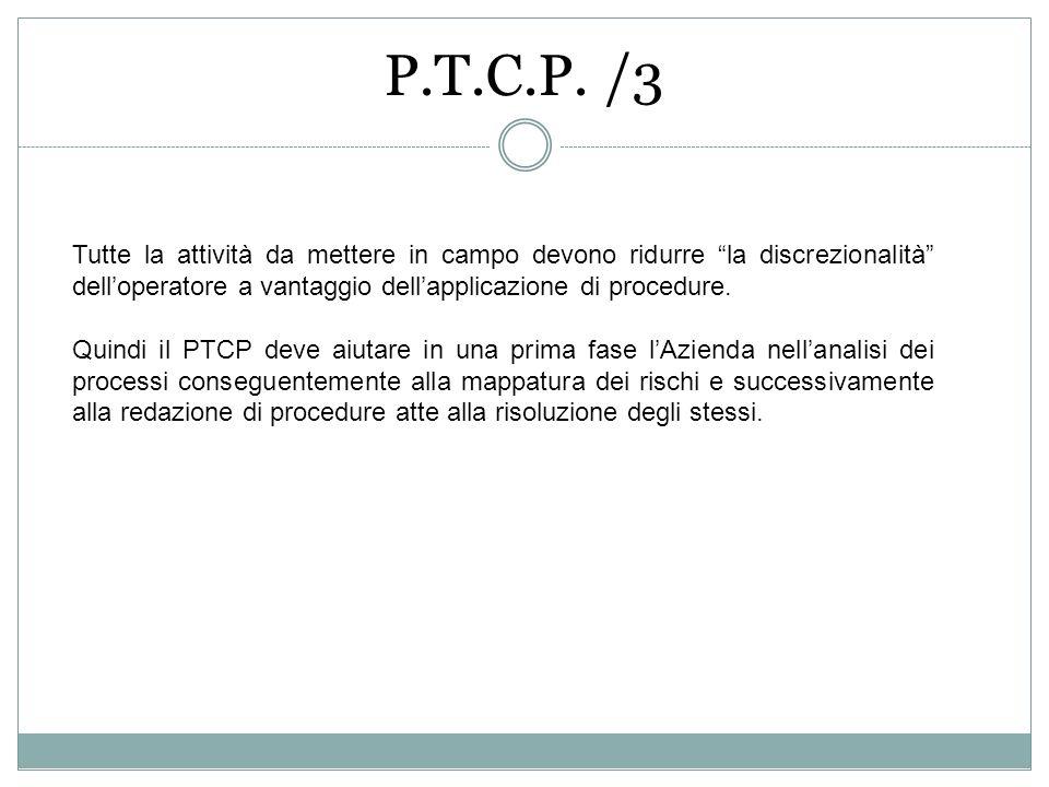 P.T.C.P. /3 Tutte la attività da mettere in campo devono ridurre la discrezionalità dell'operatore a vantaggio dell'applicazione di procedure.