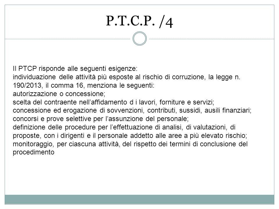 P.T.C.P. /4 Il PTCP risponde alle seguenti esigenze: