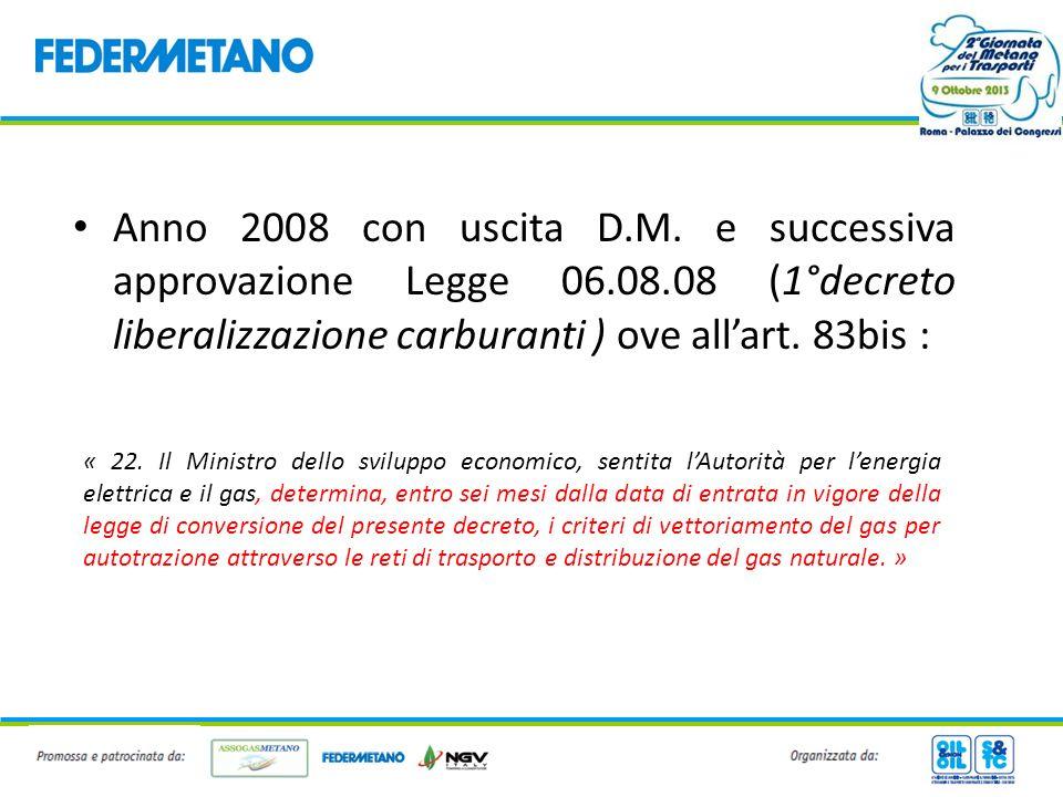 Anno 2008 con uscita D. M. e successiva approvazione Legge 06. 08