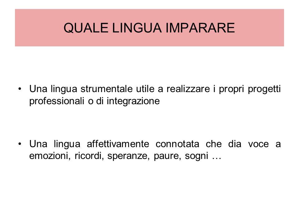 QUALE LINGUA IMPARARE Una lingua strumentale utile a realizzare i propri progetti professionali o di integrazione.