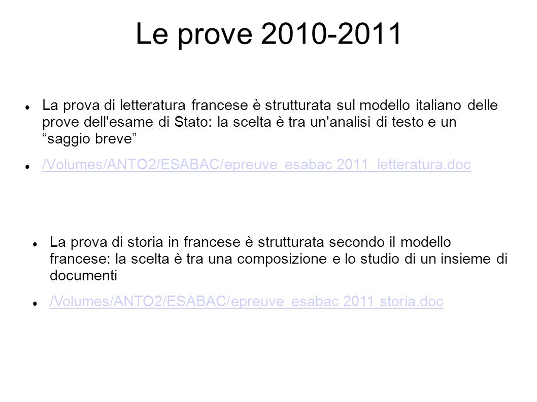 Le prove 2010-2011