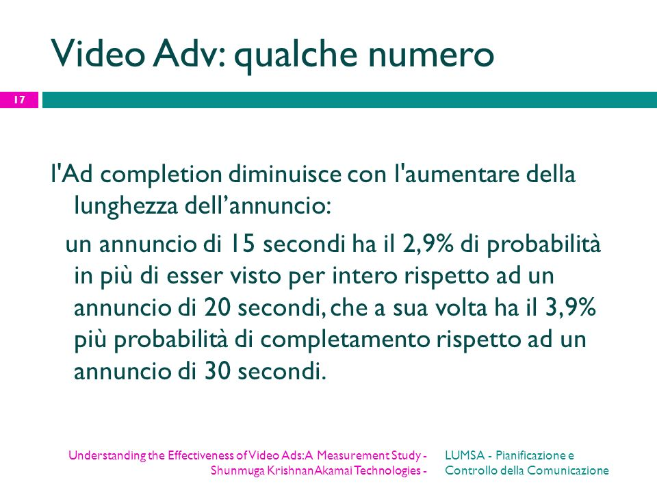 Video Adv: qualche numero