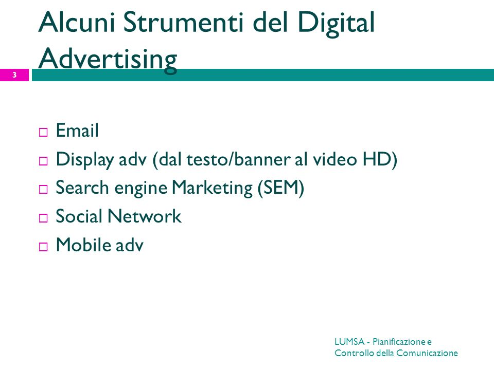 Alcuni Strumenti del Digital Advertising