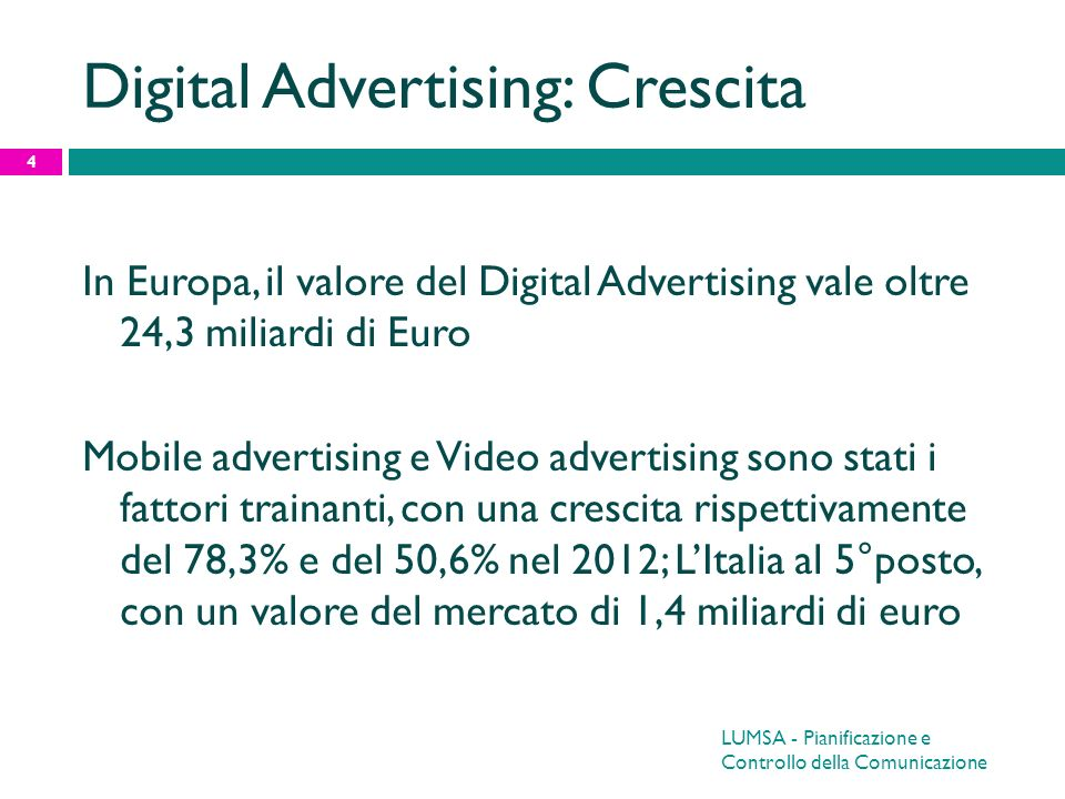 Digital Advertising: Crescita