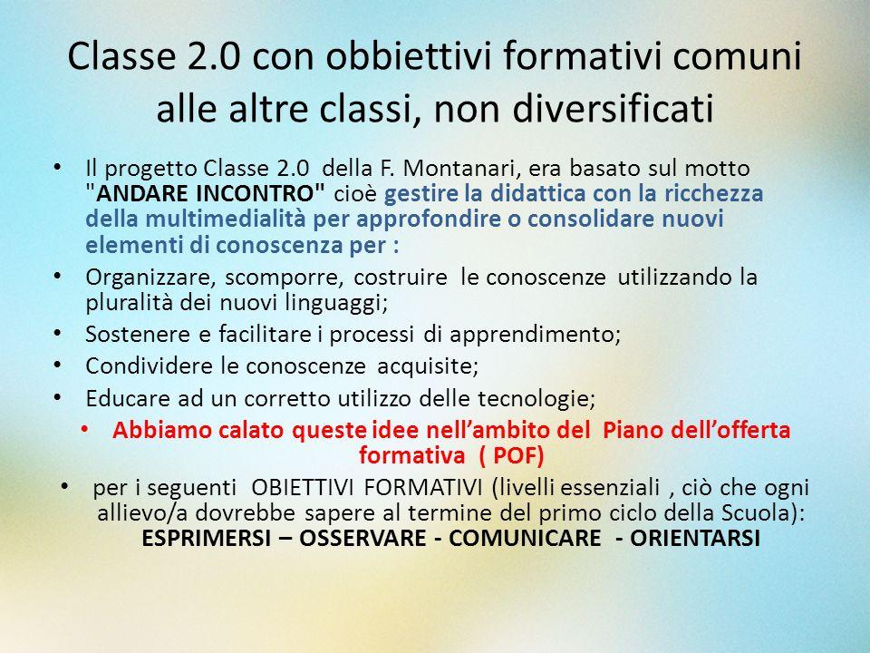 Classe 2.0 con obbiettivi formativi comuni alle altre classi, non diversificati