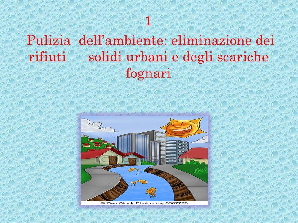 1 Pulizia dell'ambiente: eliminazione dei rifiuti solidi urbani e degli scariche fognari