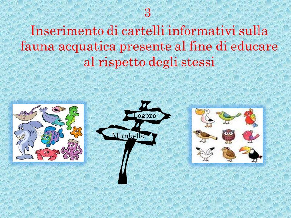 Inserimento di cartelli informativi sulla fauna acquatica presente al fine di educare al rispetto degli stessi