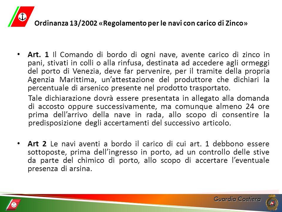 Ordinanza 13/2002 «Regolamento per le navi con carico di Zinco»