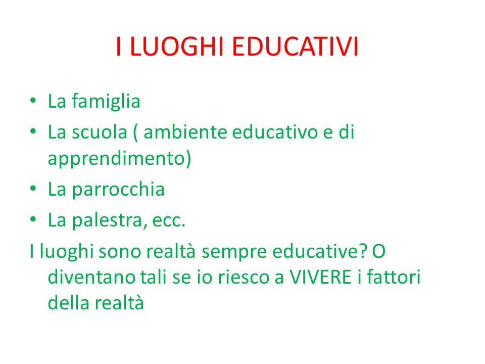 I LUOGHI EDUCATIVI La famiglia