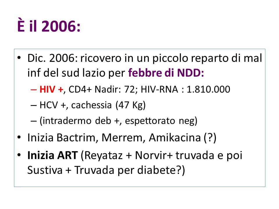 È il 2006: Dic. 2006: ricovero in un piccolo reparto di mal inf del sud lazio per febbre di NDD: HIV +, CD4+ Nadir: 72; HIV-RNA : 1.810.000.