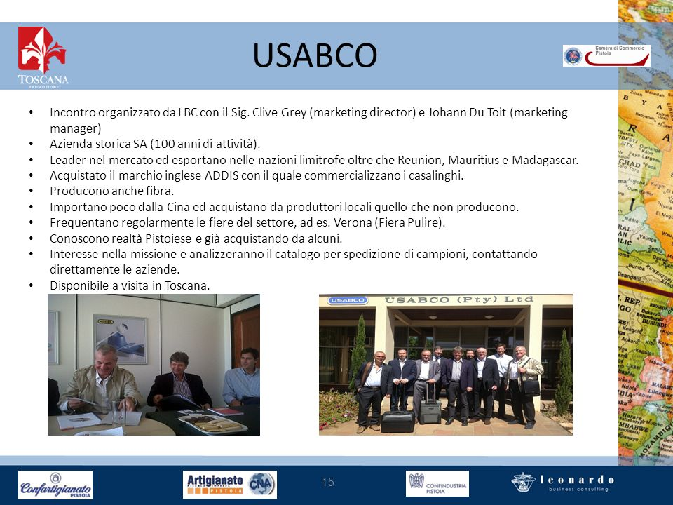 USABCO Incontro organizzato da LBC con il Sig. Clive Grey (marketing director) e Johann Du Toit (marketing manager)
