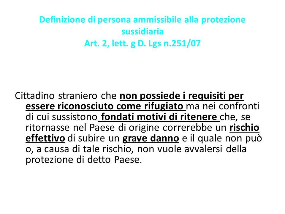 Definizione di persona ammissibile alla protezione sussidiaria Art
