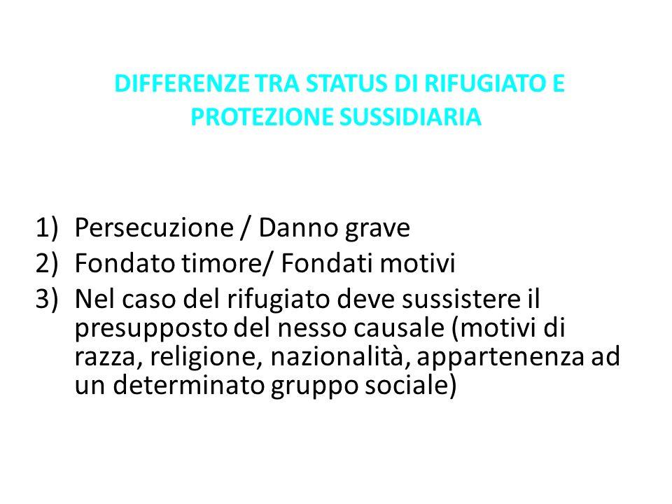 DIFFERENZE TRA STATUS DI RIFUGIATO E PROTEZIONE SUSSIDIARIA