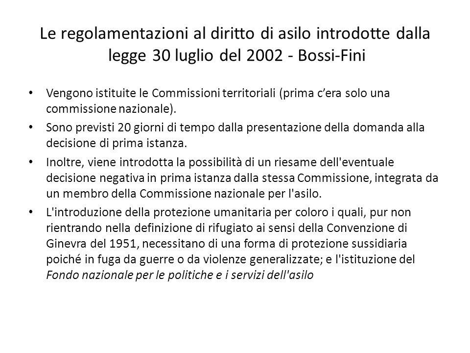 Le regolamentazioni al diritto di asilo introdotte dalla legge 30 luglio del 2002 - Bossi-Fini