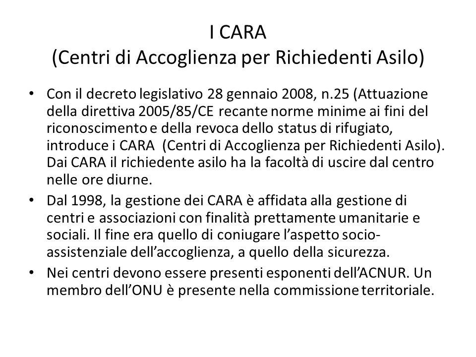 I CARA (Centri di Accoglienza per Richiedenti Asilo)