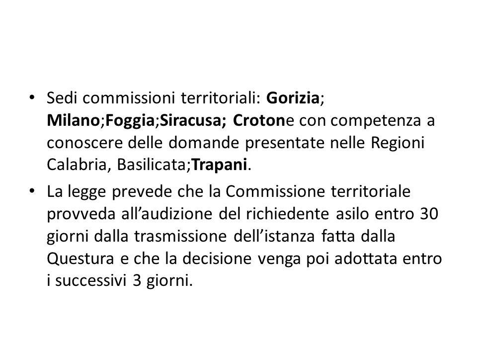 Sedi commissioni territoriali: Gorizia; Milano;Foggia;Siracusa; Crotone con competenza a conoscere delle domande presentate nelle Regioni Calabria, Basilicata;Trapani.