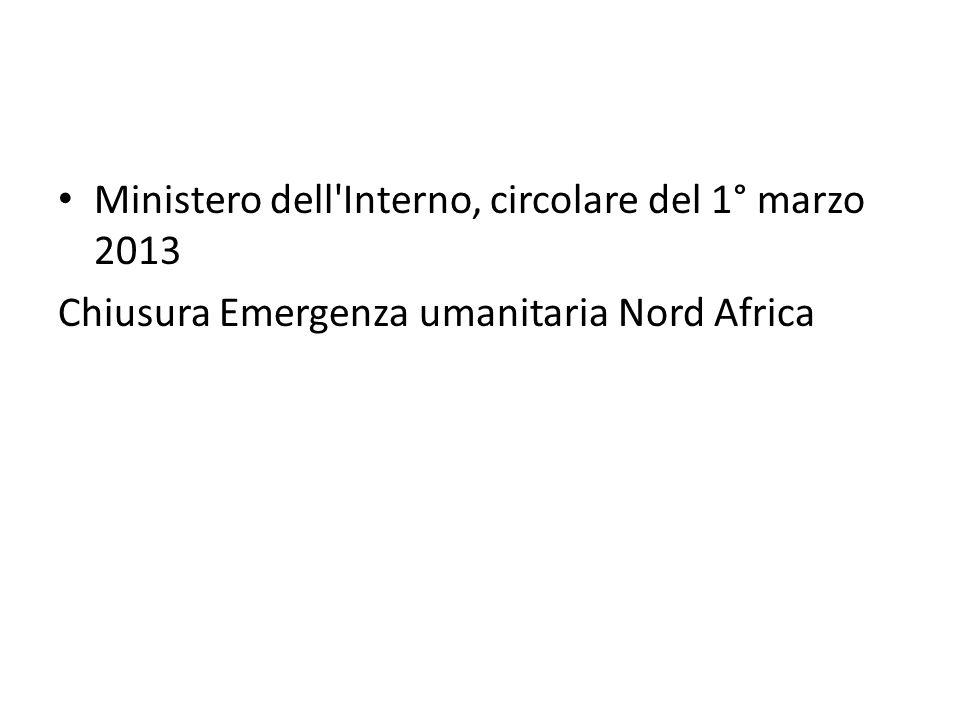 Ministero dell Interno, circolare del 1° marzo 2013