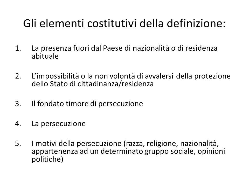Gli elementi costitutivi della definizione: