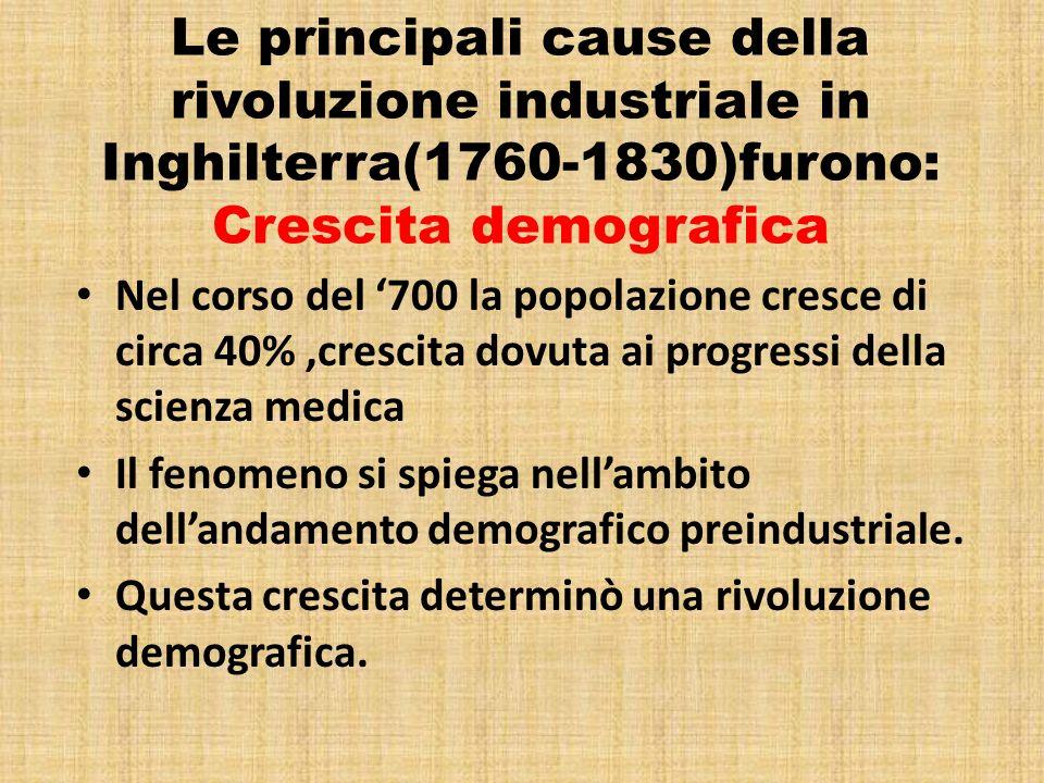 Le principali cause della rivoluzione industriale in Inghilterra(1760-1830)furono: Crescita demografica
