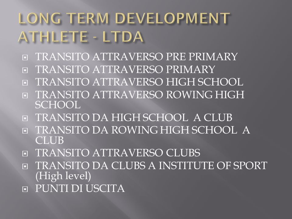 LONG TERM DEVELOPMENT ATHLETE - LTDA